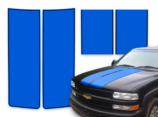 Chevy Tahoe Racing Stripes Blue - Black Pinstripe 2000-2006