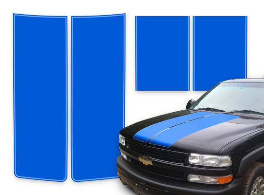 Chevy Tahoe Racing Stripes Blue - Light Blue Pinstripe 2000-2006