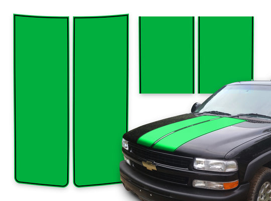 Chevy Tahoe Racing Stripes Green - Black Pinstripe 2000-2006