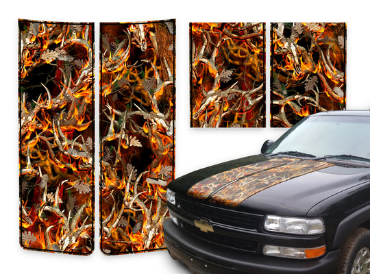 Chevy Tahoe Racing Stripes Buck Skulls Blaze - Black Pinstripe 2000-2006