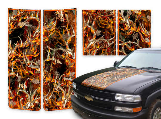 Chevy Tahoe Racing Stripes Buck Skulls Blaze - Orange Pinstripe 2000-2006