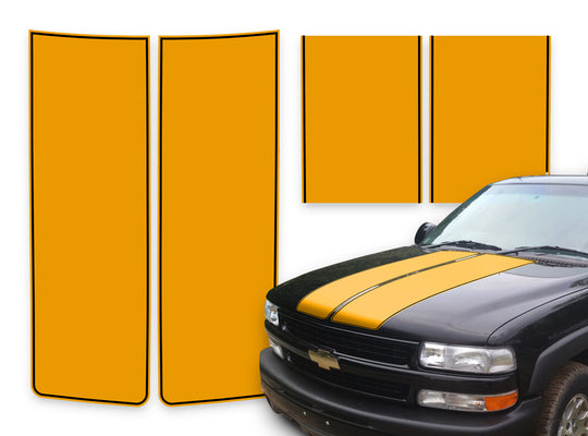 Chevy Tahoe Racing Stripes Orange - Black Pinstripe 2000-2006