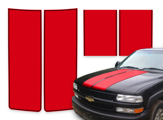 Chevy Tahoe Racing Stripes Red - Black Pinstripe 2000-2006