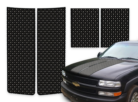 Chevy Tahoe Racing Stripes Black Skulls - Black Pinstripe 2000-2006