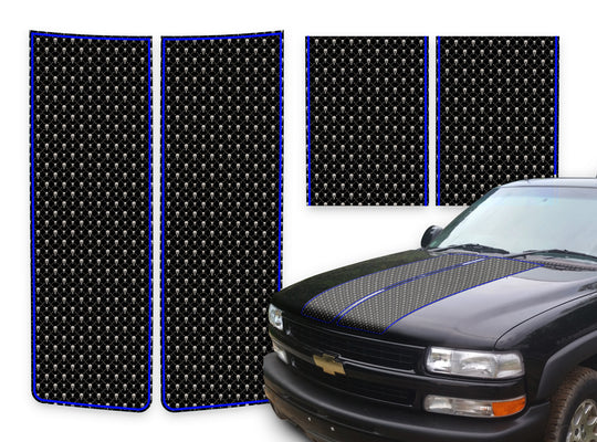Chevy Tahoe Racing Stripes Black Skulls - Blue Pinstripe 2000-2006