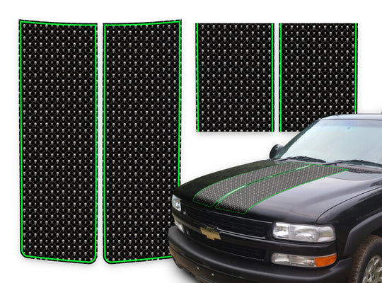 Chevy Tahoe Racing Stripes Black Skulls - Green Pinstripe 2000-2006