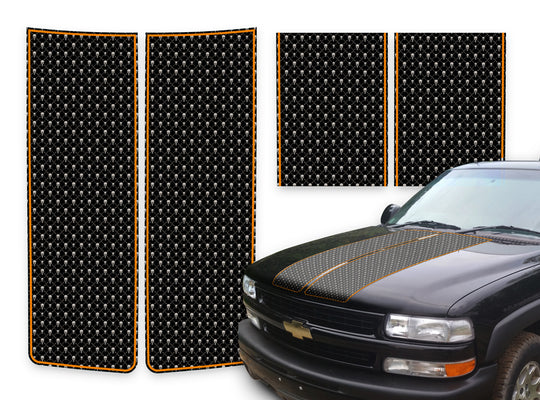 Chevy Tahoe Racing Stripes Black Skulls - Orange Pinstripe 2000-2006