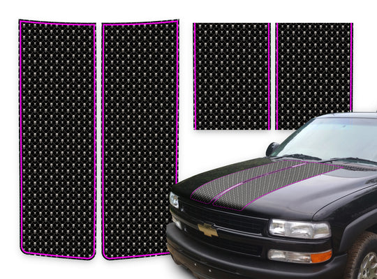 Chevy Tahoe Racing Stripes Black Skulls - Pink Pinstripe 2000-2006