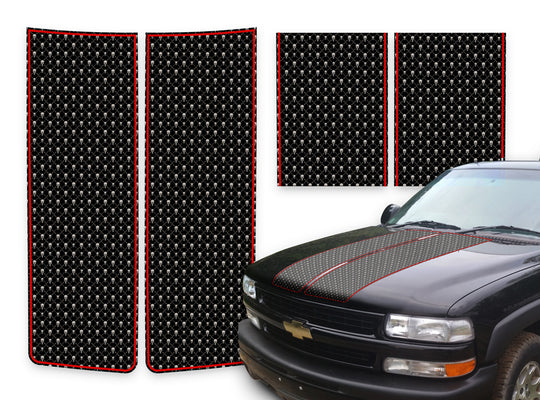 Chevy Tahoe Racing Stripes Black Skulls - Red Pinstripe 2000-2006