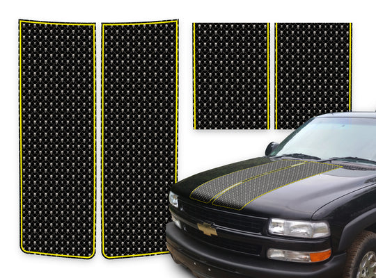 Chevy Tahoe Racing Stripes Black Skulls - Yellow Pinstripe 2000-2006