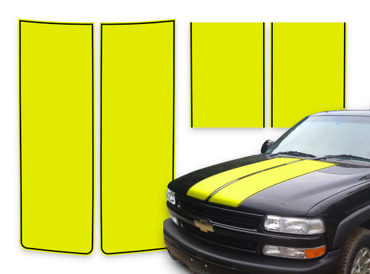 Chevy Tahoe Racing Stripes Yellow - Black Pinstripe 2000-2006