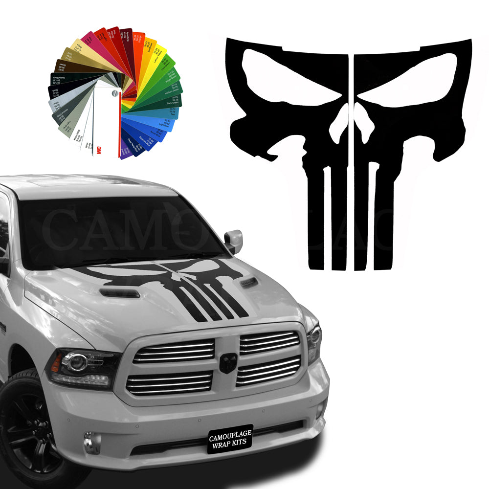 Dodge Ram Hemi Hood Punisher Stripe Decal Kit 2 2009-2018