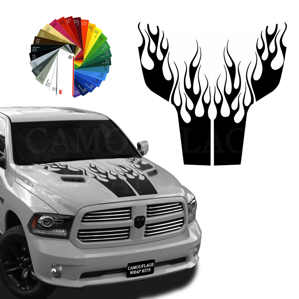 Dodge Ram Hemi Rebel Hood Flames Stripe Kit 1 2009-2018