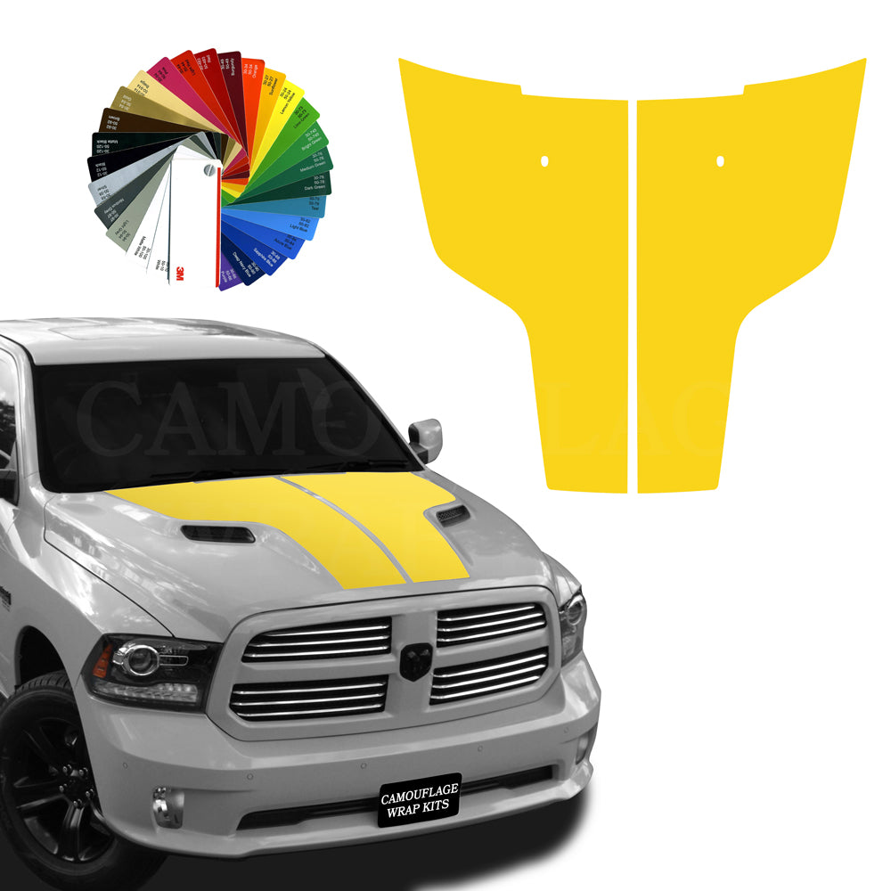 Dodge Ram Hemi Hood Stripes Yellow Graphic Decals 2009-2017