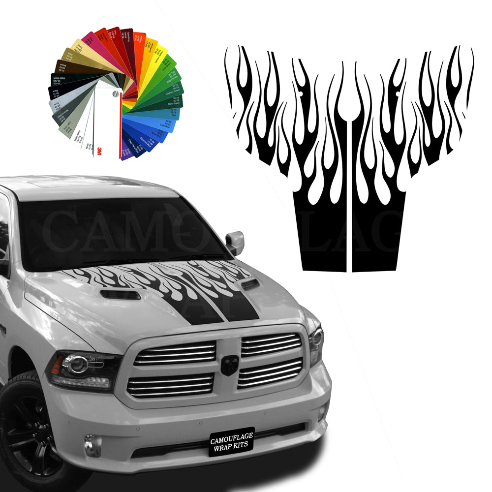 Dodge Ram Hood Flames Stripe Kit 2 2009-2018