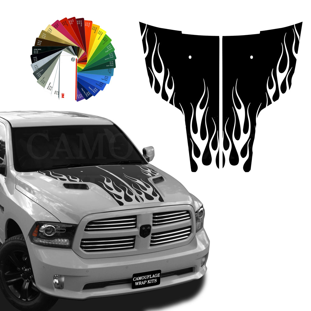Dodge Ram Hood Flaming Stripes