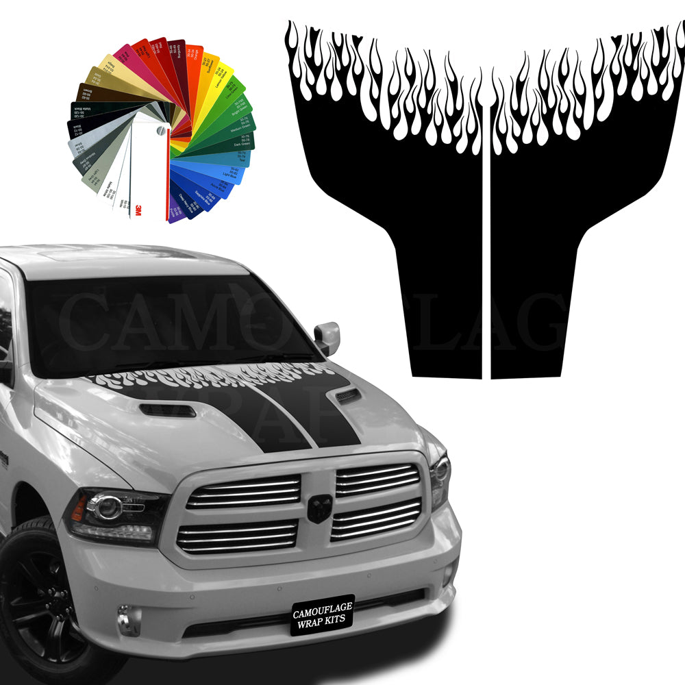 Dodge Ram Hood Stripes Blackout Graphic Decals Flame Kit 4 2009-2018