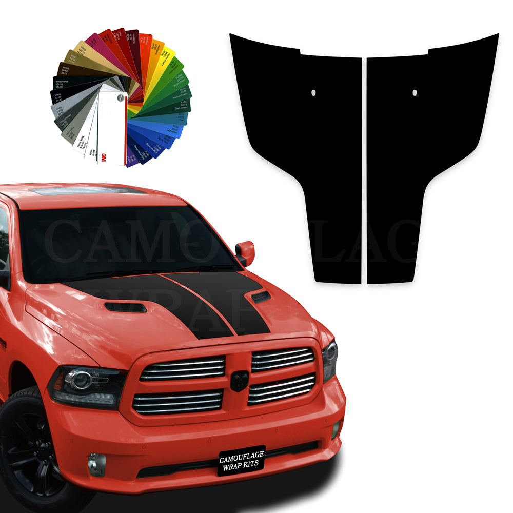 Dodge Ram Hood Stripes Blackout Graphic Decals 2009-2017