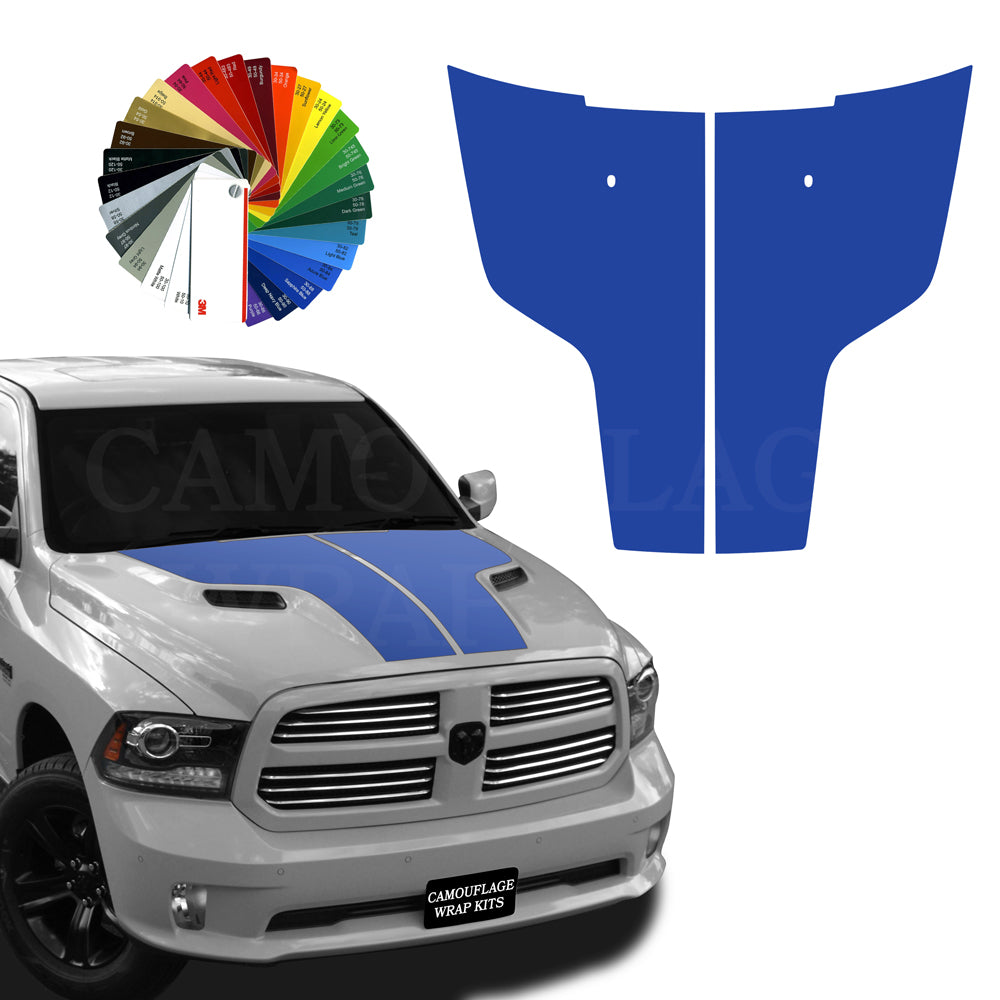 Dodge Ram Hood Stripes Dark Blue Graphic Decals 2009-2017