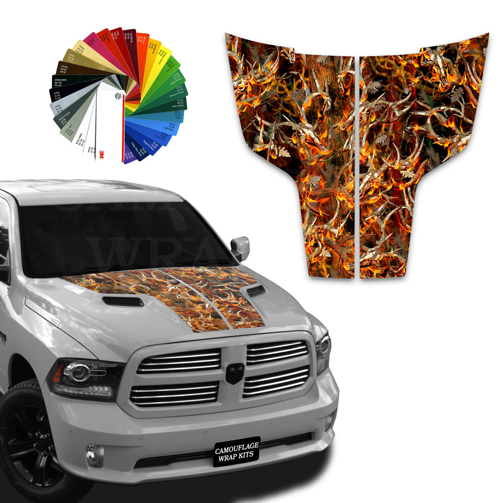 Dodge Ram Hood Stripes Obliteration Blaze Buck Camo 2009-2017