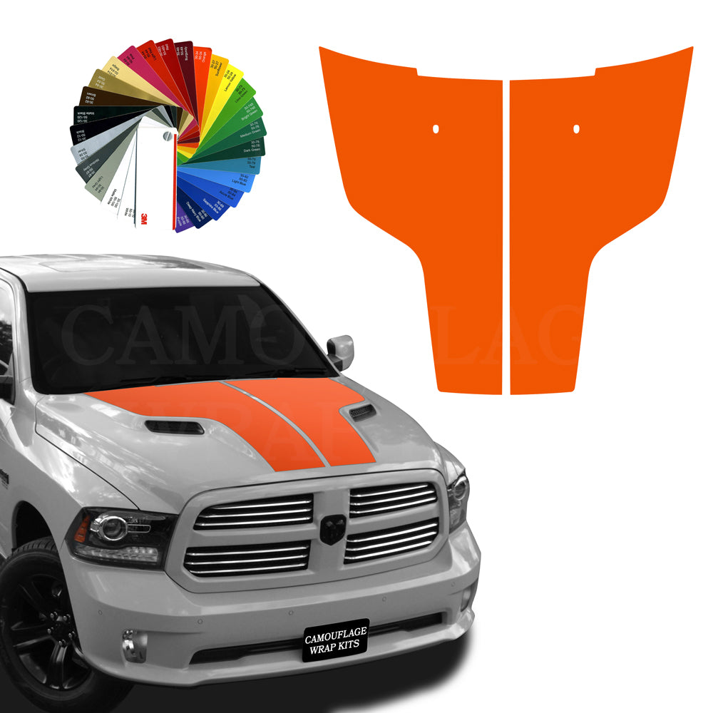 Dodge Ram Hood Stripes Orange Graphic Decals 2009-2017