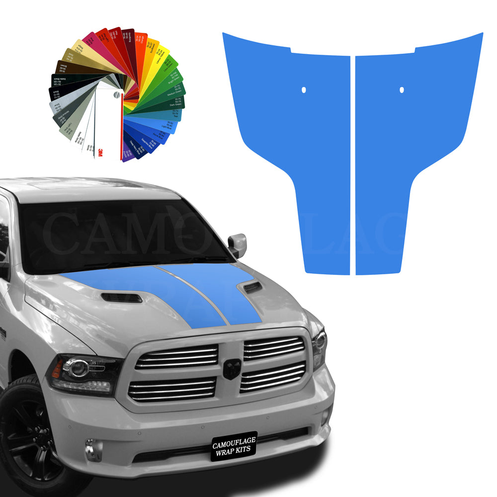 Dodge Ram Hemi Hood Stripes Light Blue 2009-2017
