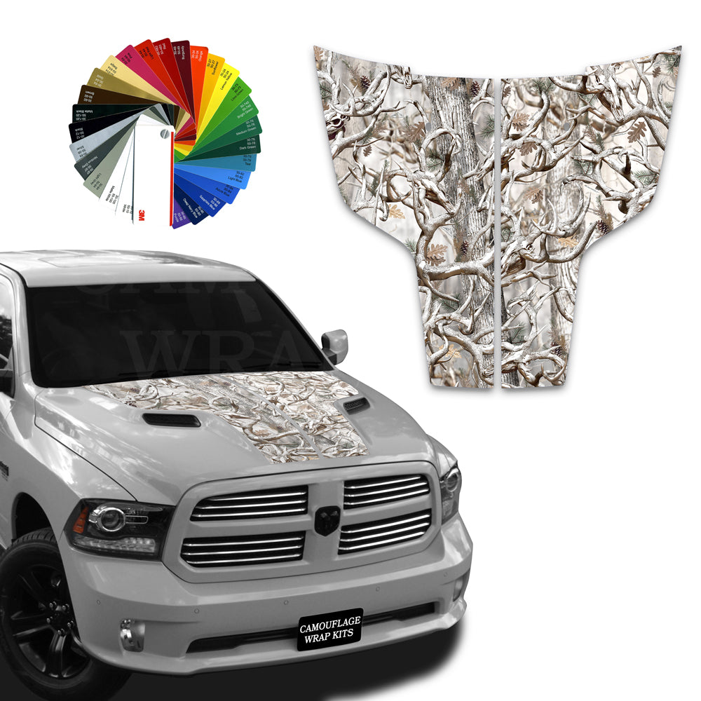 Dodge Ram Hood Stripes  Snow  Camo  2009-2017