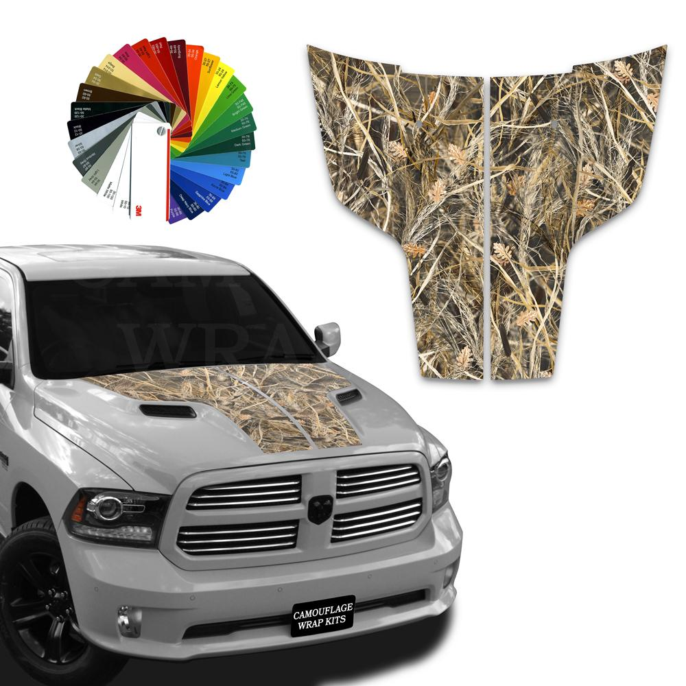 Dodge Ram Hood  Stripes Tallgrass Camo Graphic Decals 2009-2017