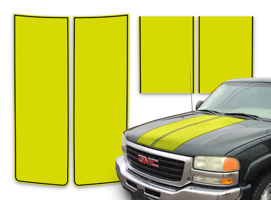 GMC Sierra Racing Stripes Yellow - Black Pinstripe 2000-2006