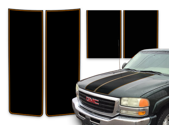 GMC Sierra Racing Stripes Black - Orange Pinstripe 2000-2006