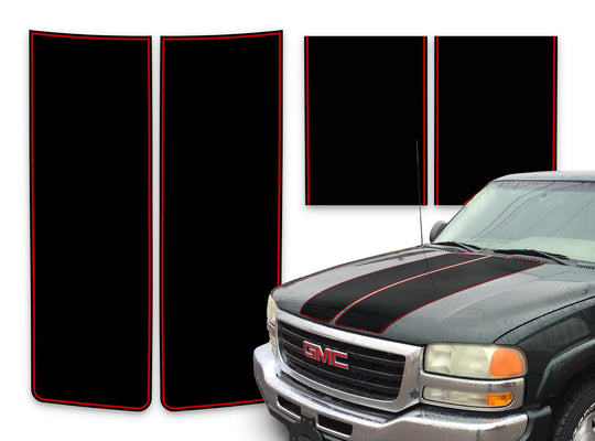 GMC Sierra Racing Stripes Black - Red Pinstripe 2000-2006