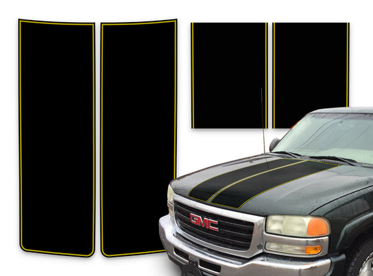 GMC Sierra Racing Stripes Black - Yellow Pinstripe 2000-2006