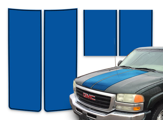GMC Sierra Racing Stripes Blue - Black Pinstripe 2000-2006
