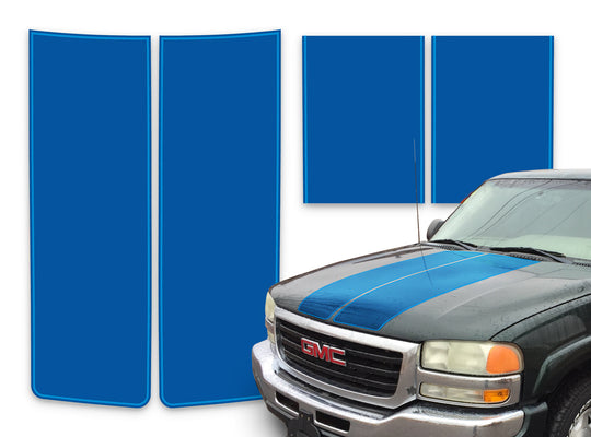 GMC Sierra Racing Stripes Blue - Light Blue Pinstripe 2000-2006