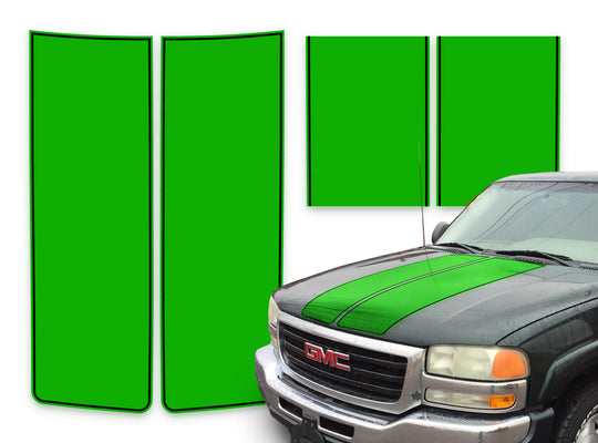 GMC Sierra Racing Stripes Green - Black Pinstripe 2000-2006