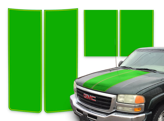 GMC Sierra Racing Stripes Green - Yellow Pinstripe 2000-2006
