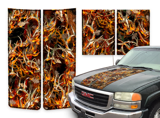 GMC Sierra Racing Stripes Buck Skulls Blaze - Black Pinstripe 2000-2006