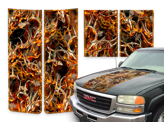 GMC Sierra Racing Stripes Buck Skulls Blaze - Orange Pinstripe 2000-2006
