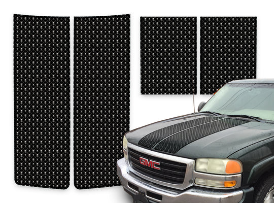GMC Sierra Racing Stripes Black Skulls - Black Pinstripe 2000-2006