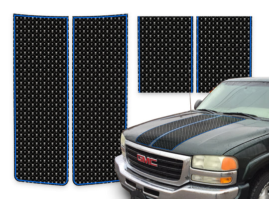 GMC Sierra Racing Stripes Black Skulls - Blue Pinstripe 2000-2006