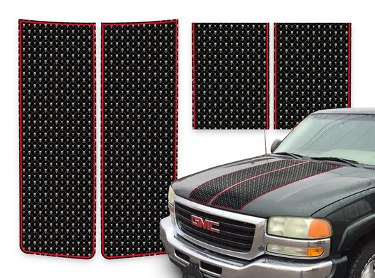 GMC Sierra Racing Stripes Black Skulls - Red Pinstripe 2000-2006