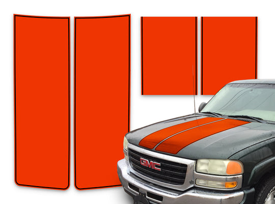 GMC Sierra Racing Stripes Orange - Black Pinstripe 2000-2006