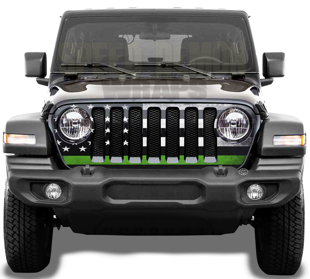 Jeep Grill Wrap - American Flag Green Line Subdued Wrangler JL 2018 - 2019 - 2020