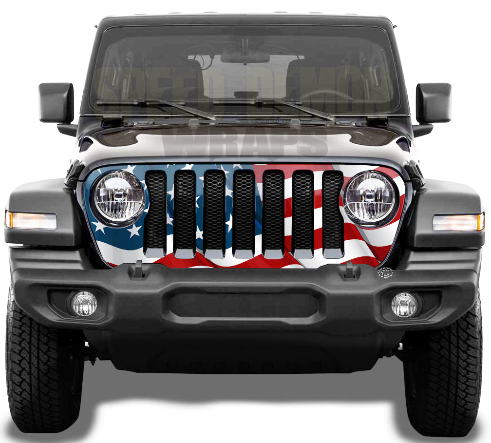 American Flag Jeep Grill Wrap Wrangler JL 2018 - 2019 - 2020 Wavy V1