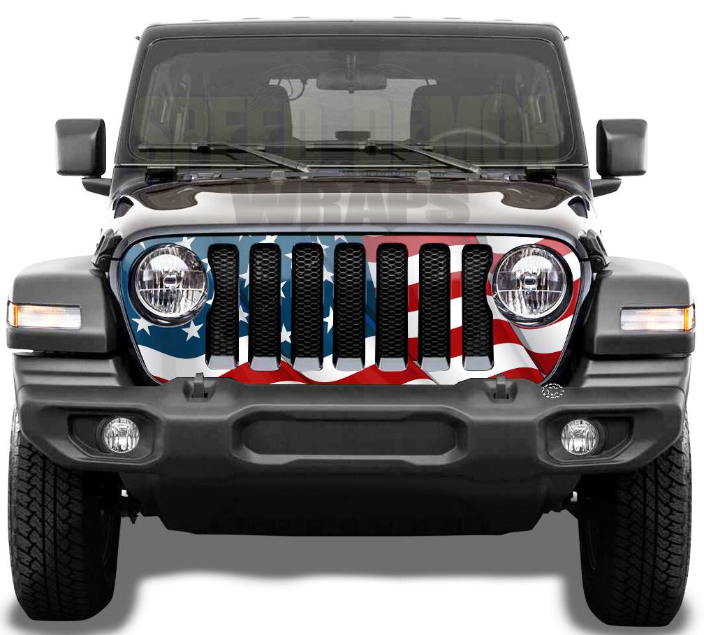 Waving-American-Flag Jeep Grill Wrap