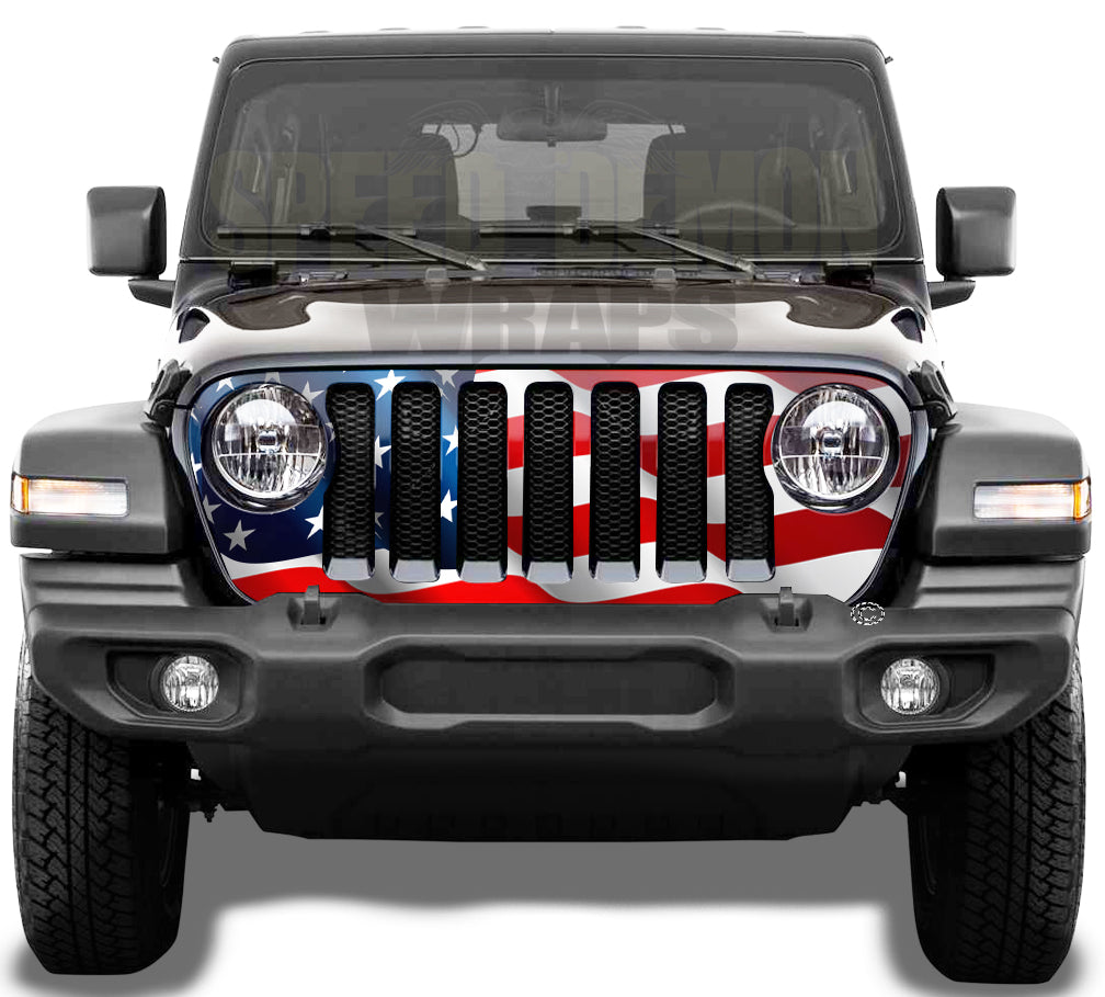 American Flag Jeep Grill Wrap Wrangler JL 2018 - 2019 - 2020 Wavy V2