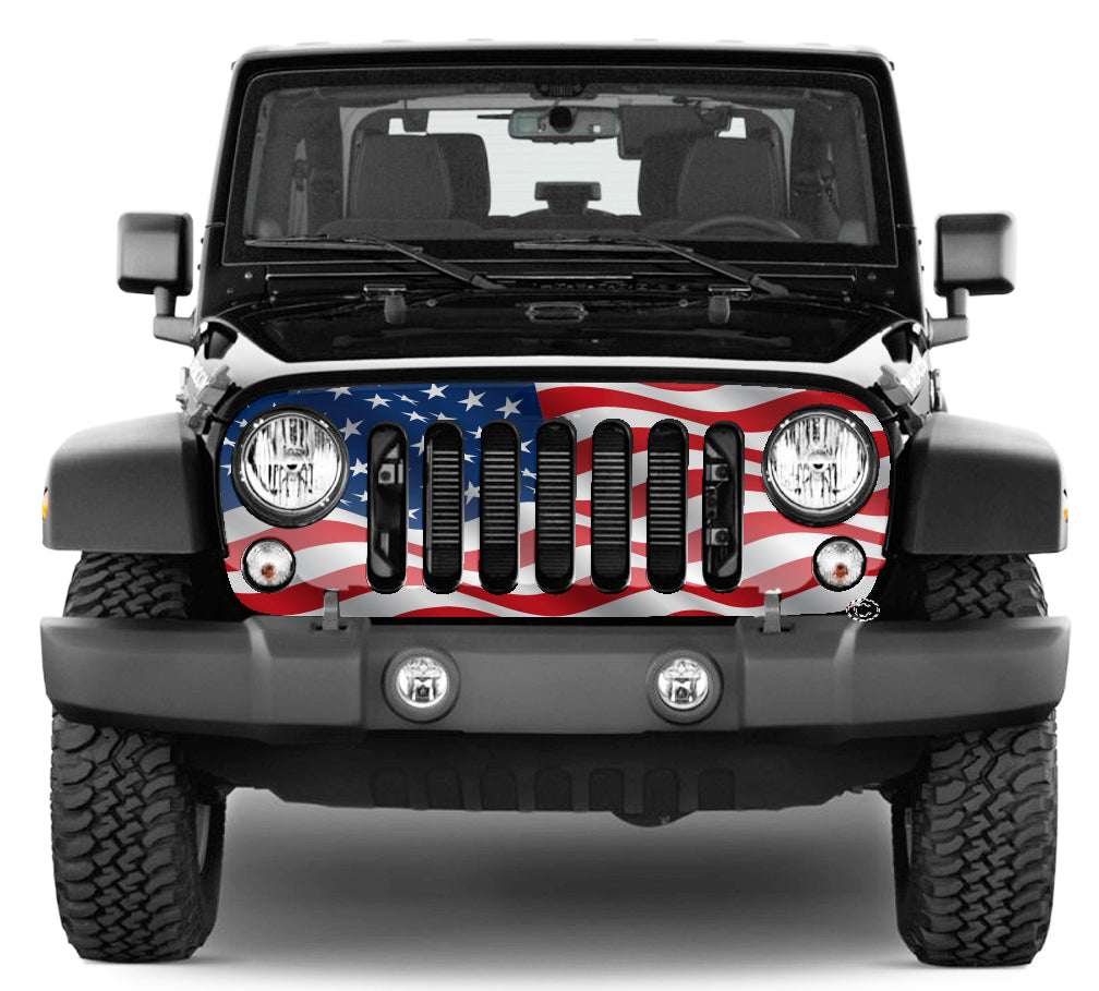Jeep Grill Wrap - Waving American Flag Wrangler 2007 - 2018