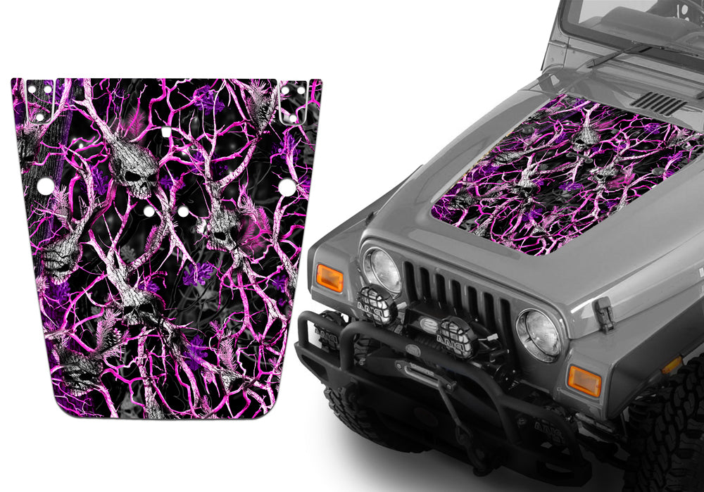 Jeep Hood Decal Blackout Wrap - Pink Skull Camouflage Wrangler 1997-2006