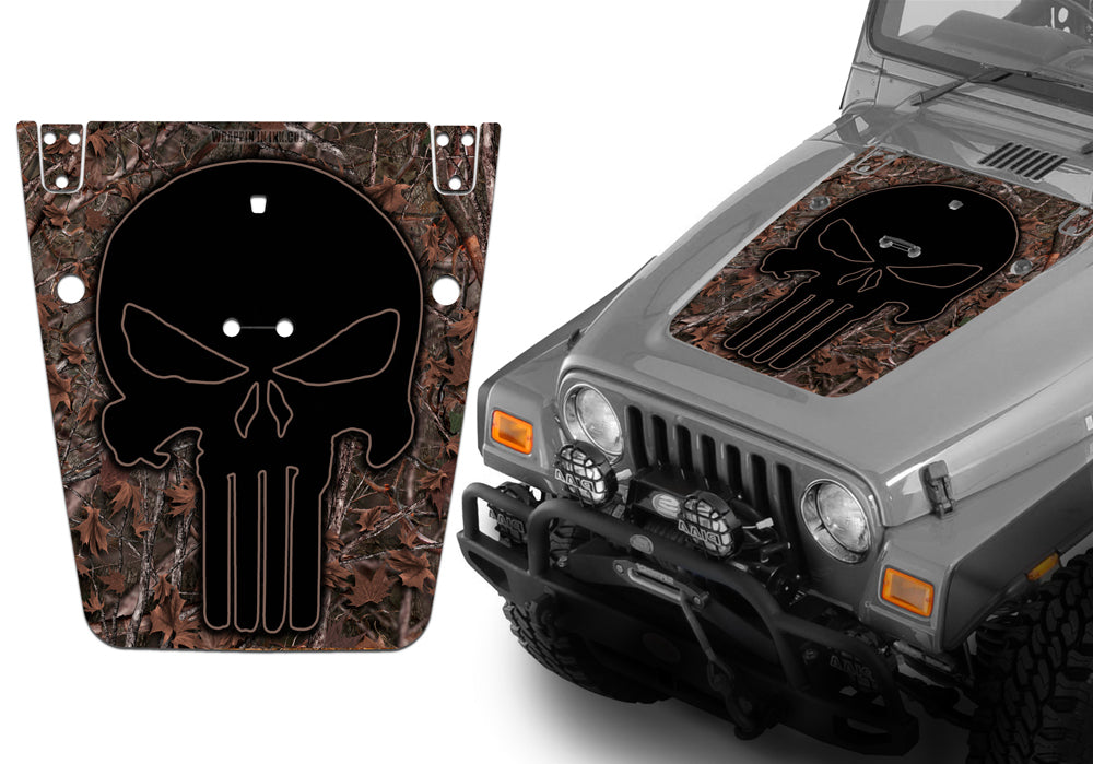 [QNCB_7524]  Jeep Hood Decal Blackout Wrap - Woodland Ghost Punisher Camo Camouflag –  Camouflage Wrap Kits | 2006 Jeep Wrangler Hood |  | Camouflage Wrap Kits