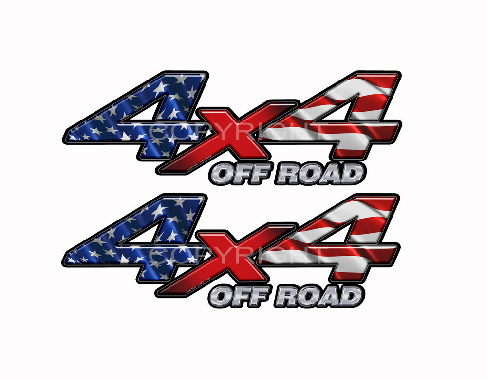 "4X4 American Flag Decals Truck Red White and Blue Truck Graphics Colored ""X"" 2 Pack"